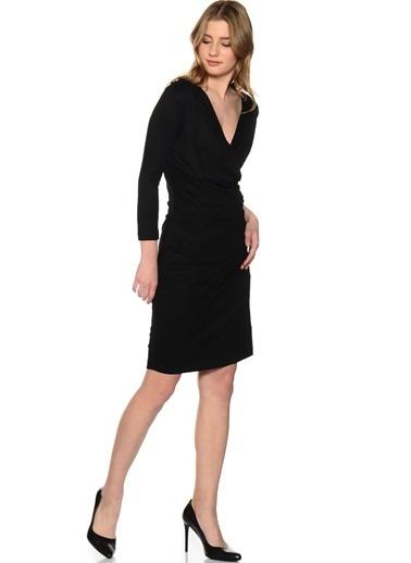 Fabrika Uzun Kollu V Yaka Elbise Siyah